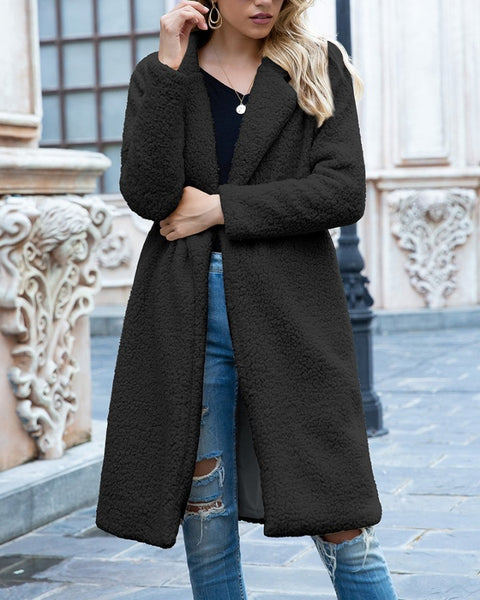 Solid Color Long Sleeve Long Fleece Coat