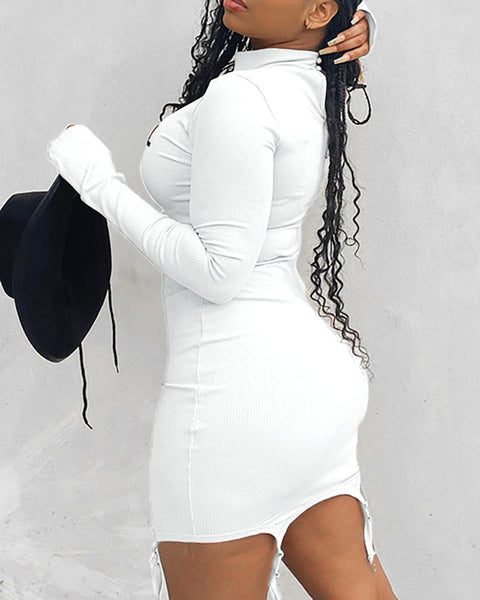 Letter Print Long Sleeve Bodycon Dress