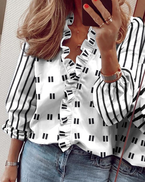Polka Dot Print Ruffle Hem Long Sleeve Shirt
