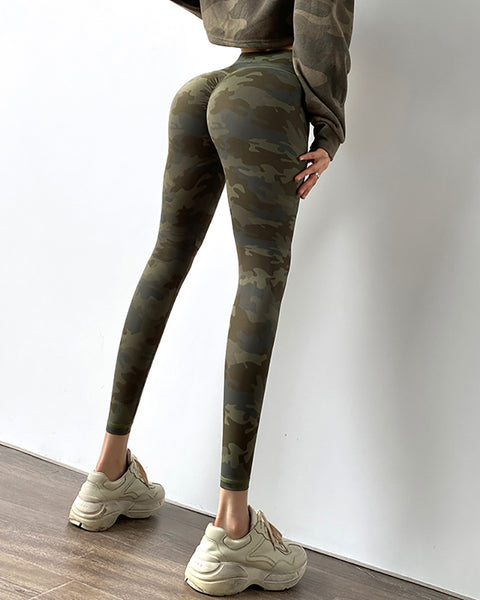 High Waist Camouflage Print Butt Lifting Yoga Pants
