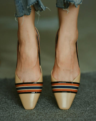 Color Block Pointed-toe Flat Shoes