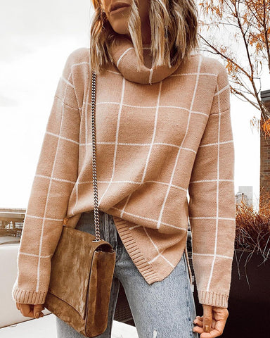 Plaid Knit High Neck Sweater
