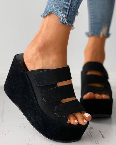 Velcro Peep Toe Wedge Sandals