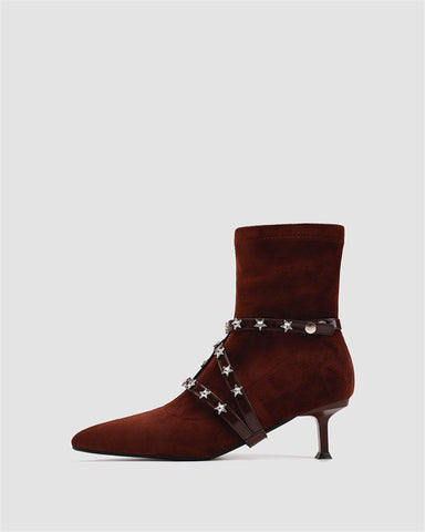 Pointed Rivets Bandages Ankle Boots
