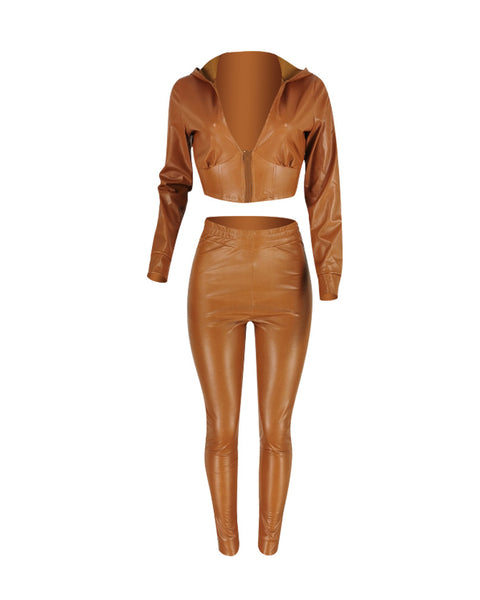 Zipper Front Long Sleeve Hooded Crop Top & High Waist Pants Set