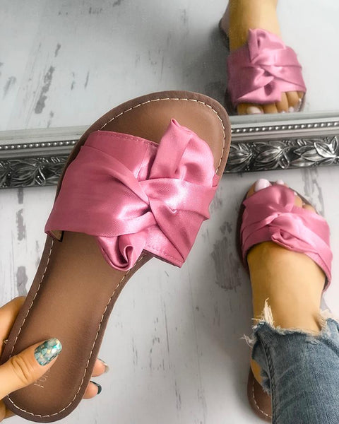 Satin Knot Design Single Strap Flat Sandals