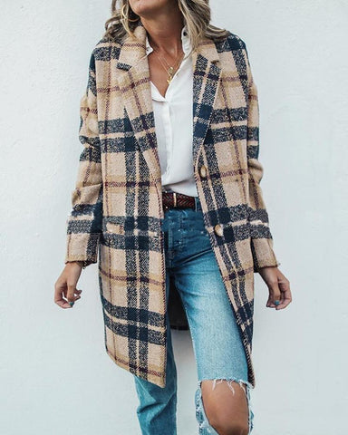 Casual Two-Button Plaid Coat