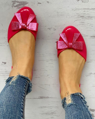 Bowknot Embellished Casual Flat Shoes