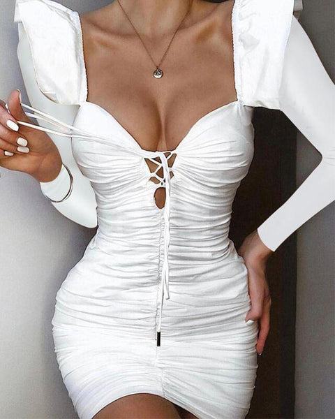 Sexy Lace-Up Bodycon Dress