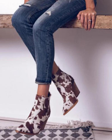 Cow Print High Heeled Chelsea Boots