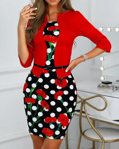Floral Dot Print Insert Fake Two Piece Dress