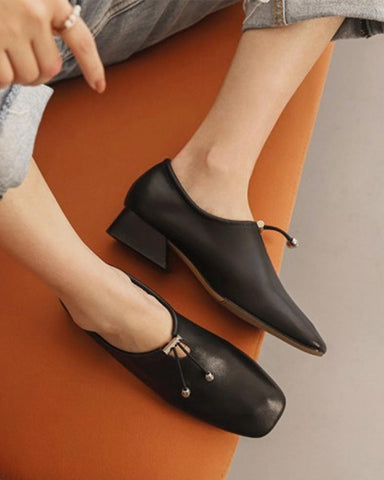 Solid Heeled Oxford Shoes