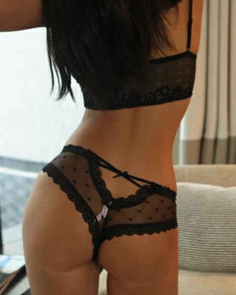 Solid Lace Cut-out See-through T-string Panties