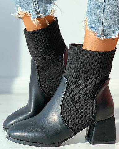 Plain Square Toe Chunky Boots