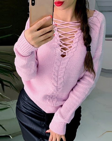 Plain Lace-up Long Sleeve Sweater
