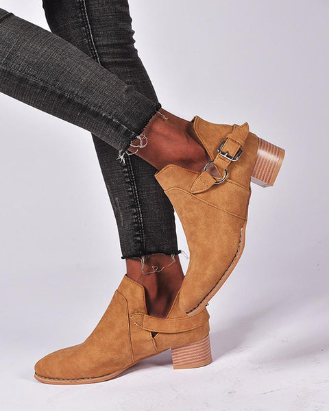 Solid Block Heel Round-toe Single Buckle Cut-out Ankle Boots