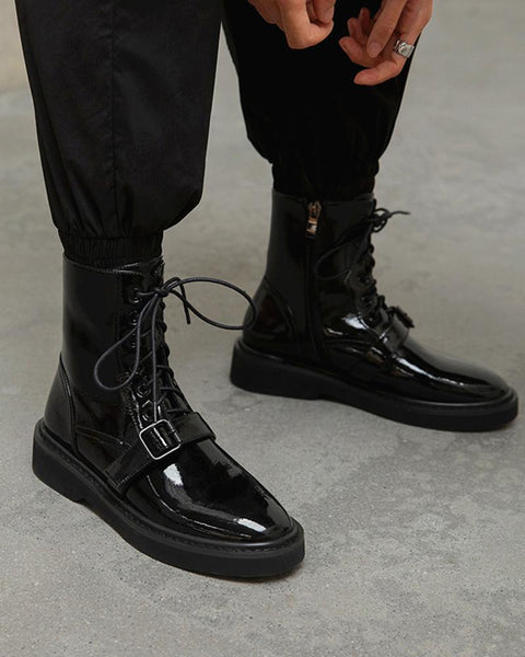 Solid Round-toe Patent Leather Lace-up Boots