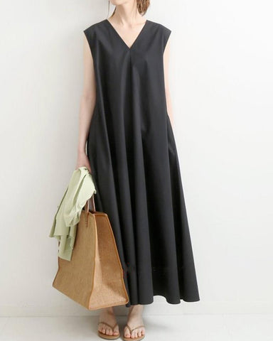Solid Sleeveless Loose Long Dress