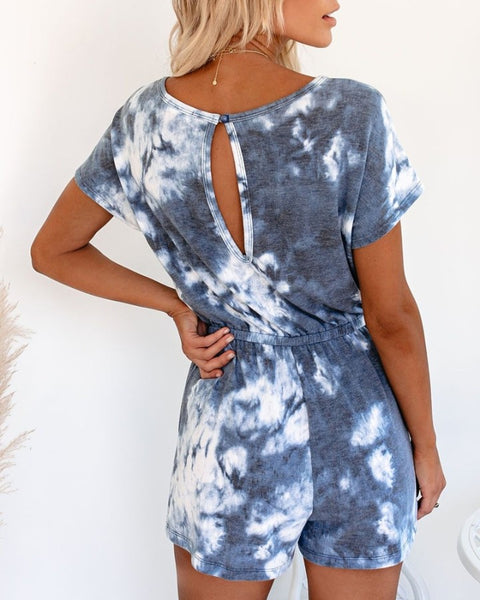 Tie Dye Short Sleeve Loose Rompers