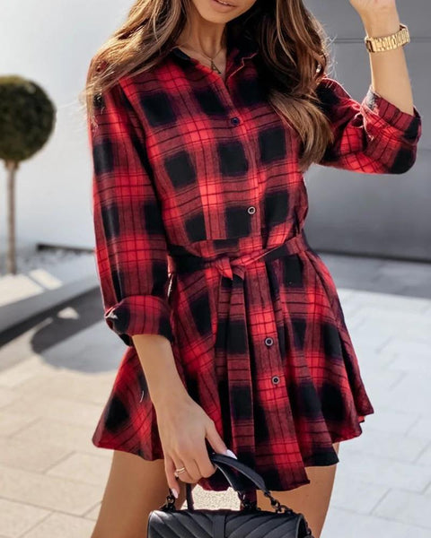 Plaid Colorblock Long Sleeve Shirt Dress