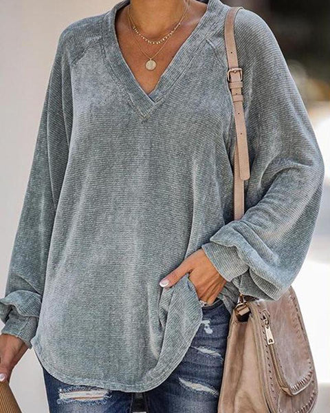 Solid V Neck Knitted Sweater