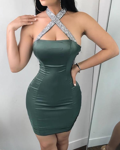 Alluring Sequined Halter Bodycon Mini Dress