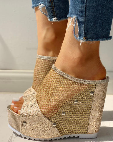 Fishnet Insert Platform Wedge Sandals