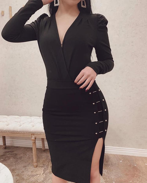 V-Neck Metal Embellished Slit Side Bodycon Dress