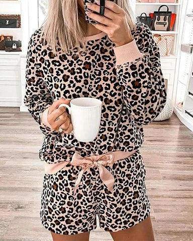 Leopard Print Long Sleeve Pajamas Set