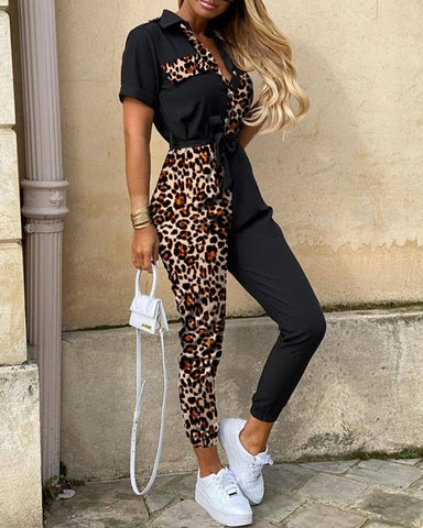 Leopard Print Splicing Short Sleeve Jumpsuit