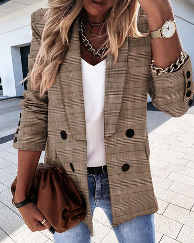 Houndstooth Double Breasted Long Sleeve Blazer Coat
