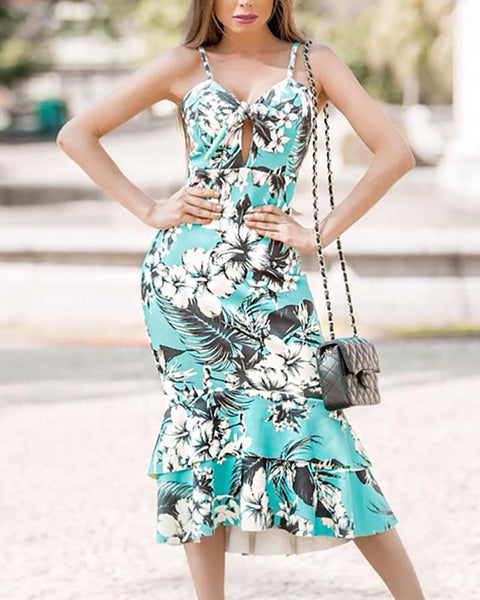 Sexy Floral Print Sling Long Dress