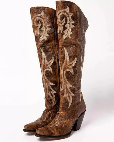 Floral Embroidery Block Heel Knee High Western Boots