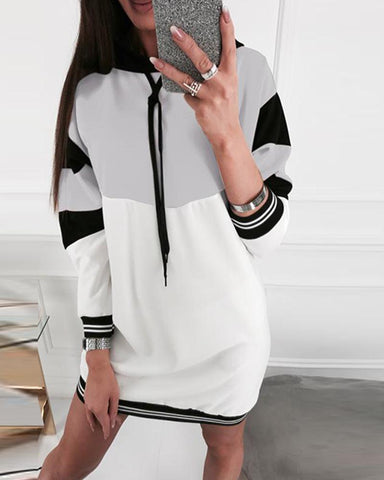 Color Blocks Mini Hoodie Dress