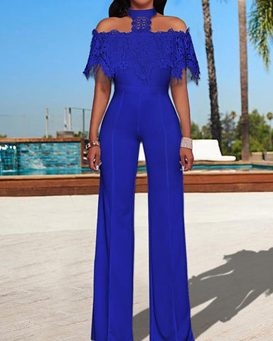 Lace Fold-over Choker Wide Leg Jumpsuits