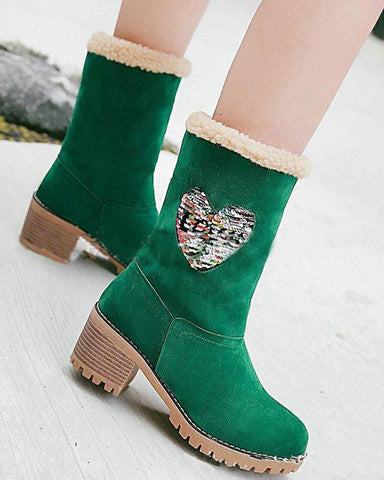 Faux Fur Heeled Ankle Boot