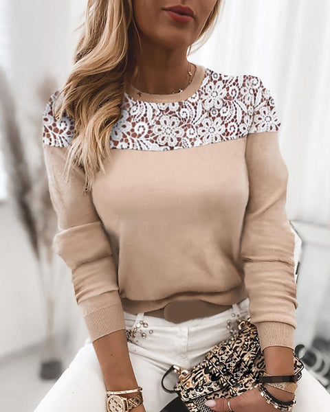 Guipure Lace Casual Long Sleeve Sweater