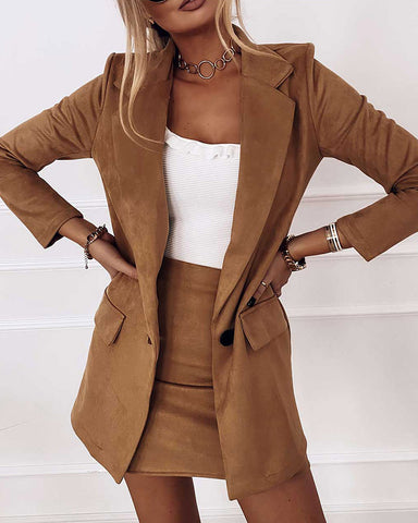 Plain Pocket Design Blazer Coat & Skirt Set