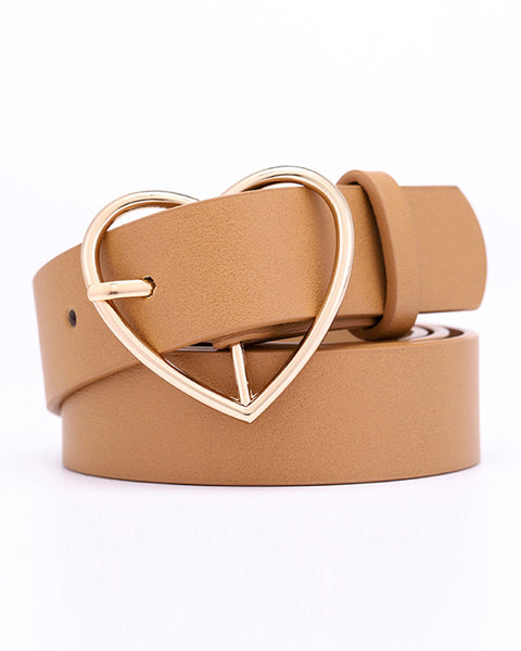 Heart Shaped Buckle PU Belt