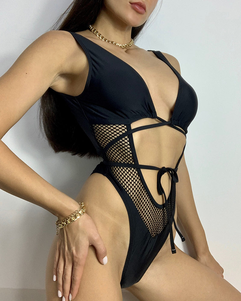 Fishnet Strappy One-Piece Swimsuit