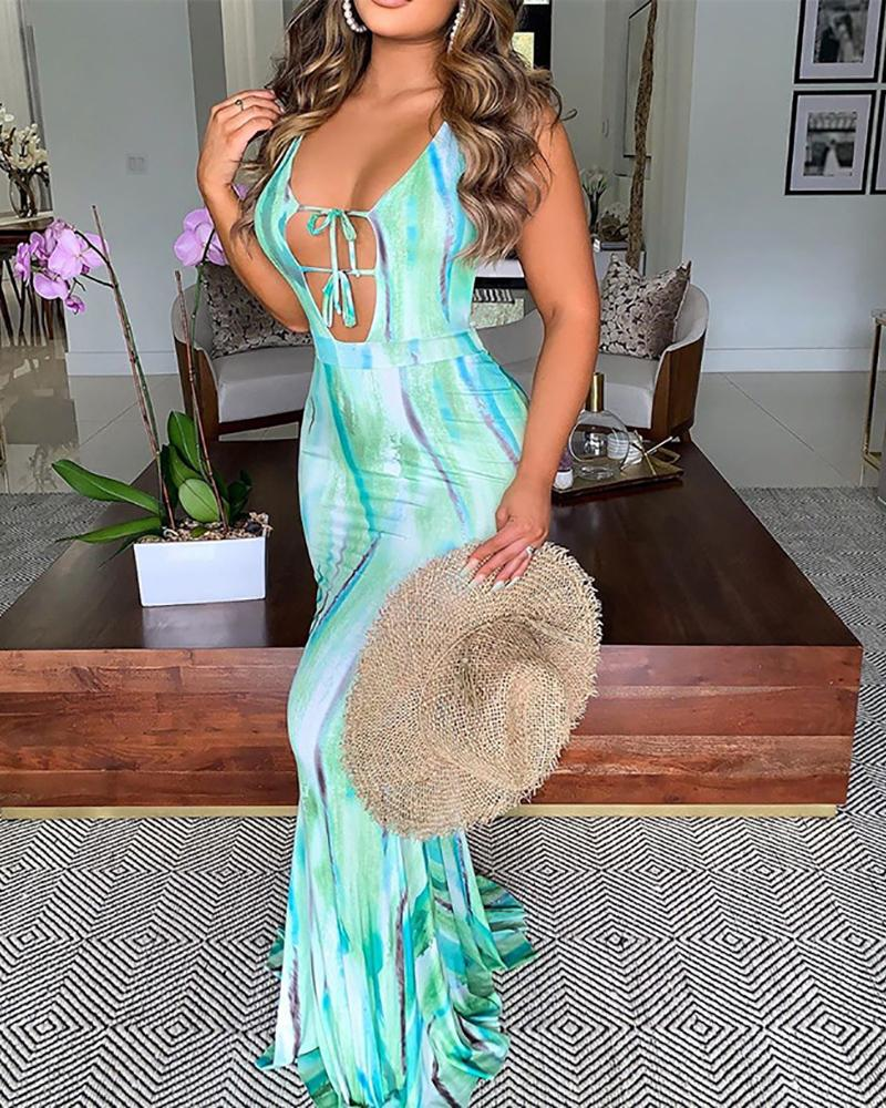 Cutout Front Tied Detail Backless Tie Dye Print Maxi Dress