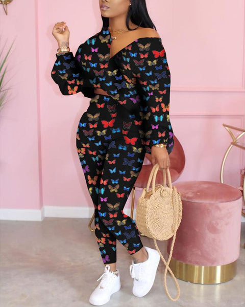 Butterfly Print Long Sleeve Loose Suit Sets