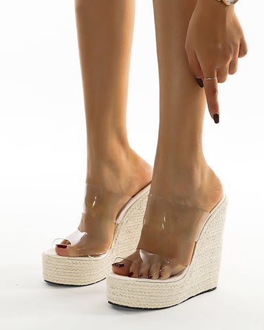 Round-toe Double Clear Perspex Straps Open-toe Wedges Shoes