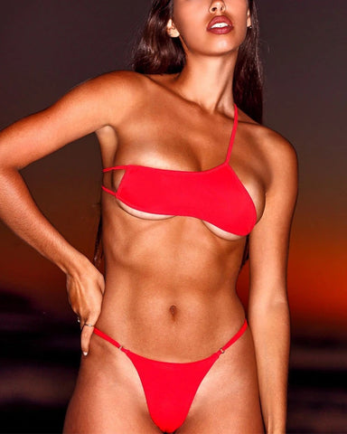 Sexy Solid Color Sleeveless Bikini Sets