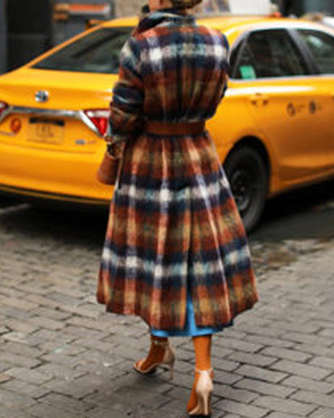 Color Block Plaid Long Sleeve Long Suit Coat