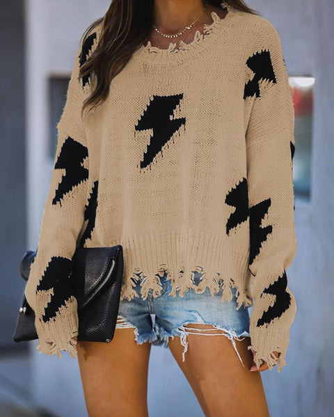 Flash Pattern Ripped Hem Bell Sleeve Loose Sweater