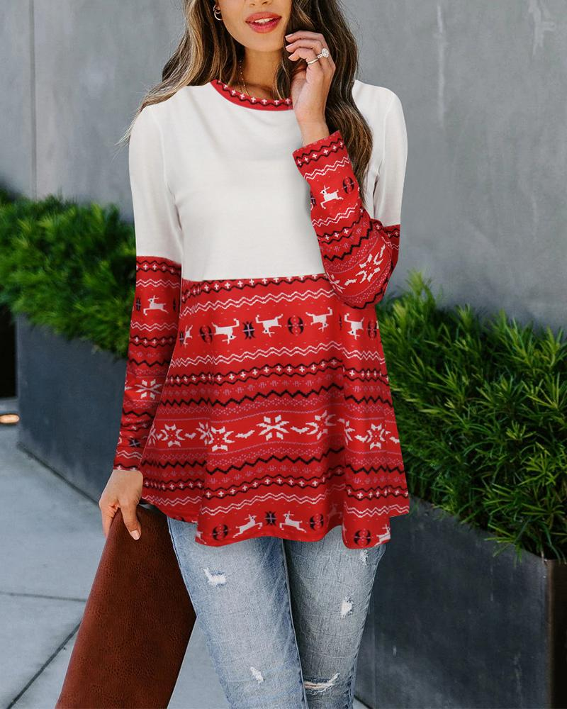 Christmas Print Long Sleeve Knitted Sweater