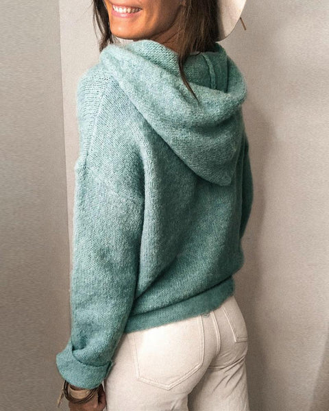 Plain Knit Long Sleeve Hooded Sweater
