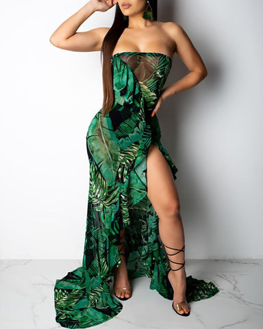 Ruffle High Slit Tropical Print Maxi Dress