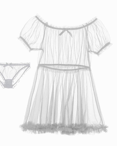 Nightie & Panties Mesh Pajama Set